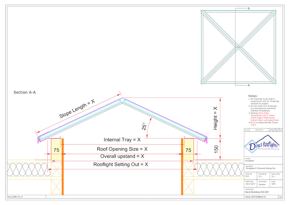 Duraglaze P Pyramid technical drawing